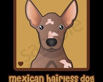 Mexican Hairless Dog Cartoon Heart T-Shirt Tee - Men's, Women's Ladies, Short, Long Sleeve, Youth Kids - Xoloitzcuintle