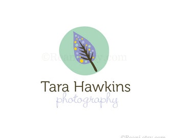 Tree Leaf Logo Design - Hand Drawn Organic Leave Polka Dots Pattern Natural Therapy Photography OOAK Premade Logo  By ReaniDesigns on Etsy