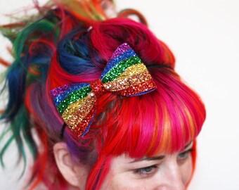 Rainbow Stripe Glitter Bow Headband, Rainbow and Pastel Rainbow- Black FRiday Cyber Monday