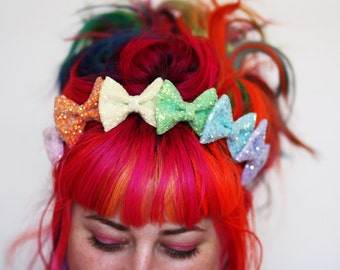 Rainbow Glitter Bow Crown Headband, Rainbow or Pastel Rainbow- Black FRiday Cyber Monday