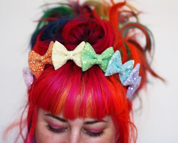 Rainbow Glitter Bow Crown Headband, Rainbow or Pastel Rainbow
