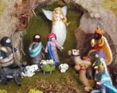 Needle Felted Nativity Set, Waldorf inspired, Holiday decoration, Christmas, Original design by Borbala Arvai, Made to order