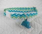 Aqua Chevron with Dolphin Bell Cat  Collar Breakaway Collar with Bell Custom Made