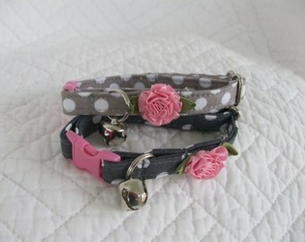 Cat Collar Grey and white polka dot with shabby chic Pink Flower Breakaway Collar Custom Made