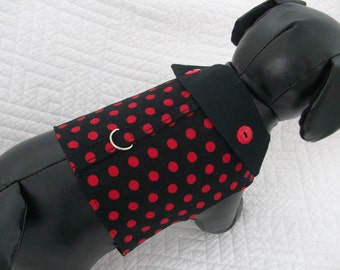 Polka Dot   Dog  Harness Vest with Collar Size