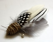 MONTAUK Feather Boutonniere in Grey, White, Black and Cream with Twine Wrap