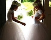 Girls long tutu tulle skirt. Flower Girl skirt. White or ivory long tutu. Available in several colors.