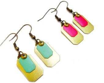 Everyday Geometric Earrings, Color Pop Earrings, Brass Dangle Earrings