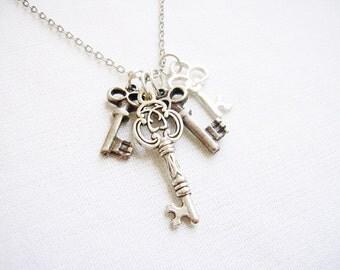 Key Charm Necklace,  Skeleton Keys Necklace, Silver Key Necklace