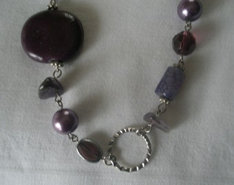 Silver Tone Discs a Variety of Purple Stone Beads Lavender Pearls and Geometric Shapes Necklace