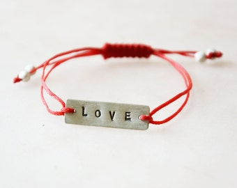 LOVE sterling silver friendship bracelet - adjustable size