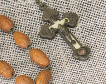 Rosary , Necklace , Prayer Beads , Jewelry , Religious Jewelry , Religion , Vintage Nut Rosary , Vintage Religion , Catholic Jewelry , Altar