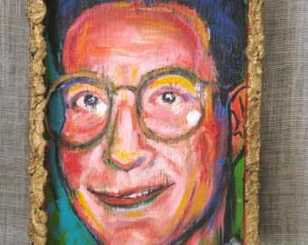 Vintage Male Portrait Painting, Portraiture, Original Fine Art, Anna Arnold, Cleveland Ohio, Hand Painted, Colorful, Acrylic, Small, Gold
