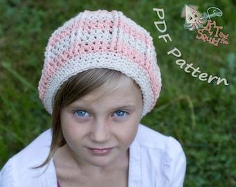 Girls Striped slouchy crochet pattern, permission to sell, crochet pattern, easy crochet pattern, crochet hat pattern, slouchy pattern