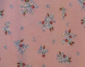 """Vintage Pink Flannel Fabric with Small White Blue & Red Flowers By the Yard 36"""" x 1 YD"""