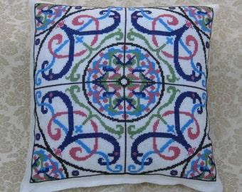 Turkish Tile Pillow Digital Cross Stitch Chart