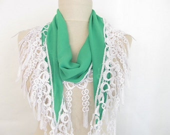 Green scarf // Chiffon scarf // Lace Scarf // Woman scarf // Fashion scarf