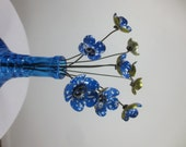 Country Delight Blue and White Bouquet of Tin Forever Blooming Flowers