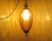 Vintage Mid Century Teardrop Gold Crackle Glass Swag Lamp Hanging Light Fixture wDiffuser