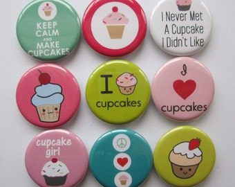 set of 9 cupcake mini 1 inch magnets or 1.25 inch magnets you choose the size