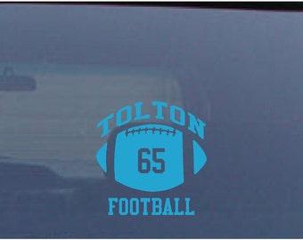 Football Car Decal Custom Name Number
