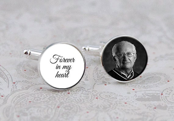 Forever in my Heart Cufflinks, Memorial Photo Cuff Links, Custom for the Groom, Wedding gift