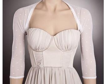 HEARTS Wedding BOLERO in WHITE with 3/4 Sleeves Any Lenght,White Wedding Bolero,White Lace Bolero,Wedding Lace Bolero,White Polka dot bridal