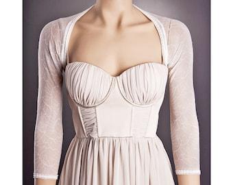 Wedding IVORY Bolero with 3/4 Sleeve Lenght,Short Wedding Bolero,Lace Wedding Bolero,Ivory Lace Bolero