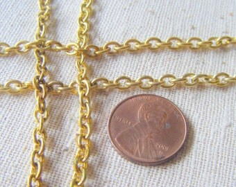 Vintage Raw Solid Yellow Brass Cable Chain (6 feet - 2 yards) Unsoldered, 4x5mm