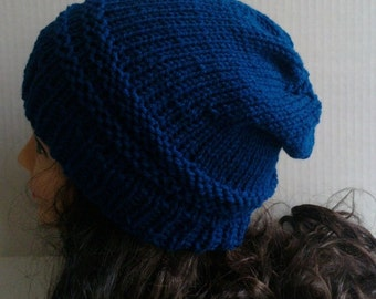 Teal Blue Beanie Hat, Knit and Crochet Hat, Peacock Blue Hat