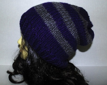 Navy Blue and Gray Hat, Winter Hat, Slouchie Beanie, Knit Slouchy Hat