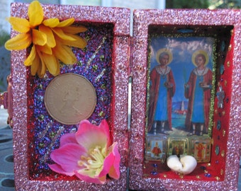 Saints Cosmas and Damian mini nicho, altar, folk art, oferenda, shrine