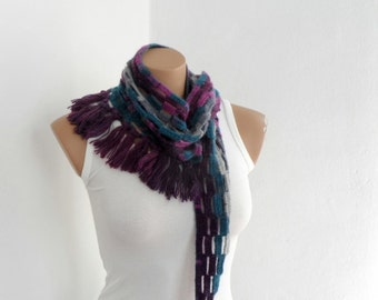 Purple Shawl Scarf, Crochet Neckwarmer with Fringe