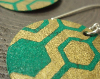 Geometric Turquoise and Gold Medium Earrings