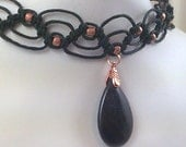 Black Hemp Choker with Obsidian Gemstone Teardrop Pendant with Copper Bail and Copper Glass Beads