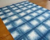 Shibori indigo linen tablecloth