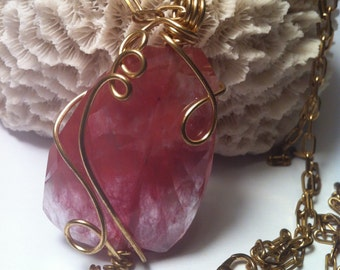 Coral Pink Agate Pendant, Translucent Agate Stone Necklace, Wirewrapped in Gold, 26 Inch Length, Gold and Coral