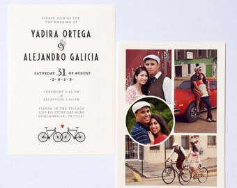 Bicycle Wedding Invitation with Photo Collage