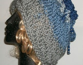 HAT HANDKNIT WOMEN  Blue and Gray Slouchy Warm Woman Girls Gift Xmas Woman Tweens Teens Headcover Hoodie  Cowl