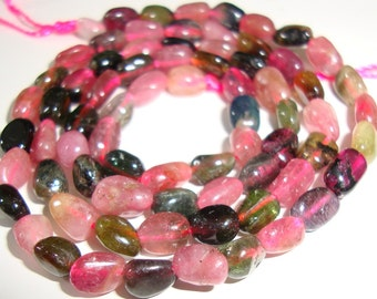 Reduced from 19.00, 15.5 Inch, 5.5-7mm, Natural Watermelon Tourmaline Smooth Polished Nuggets