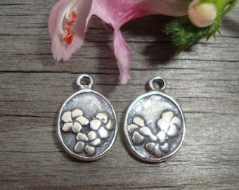 Artisan Handmade Sterling Silver Oxidized flower Charm Pendant or Earring Drops, 6 pcs, 11.2x8x2.5 mm, PC-0093