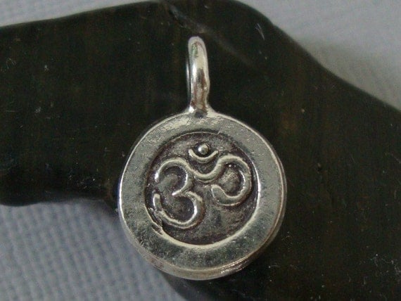 Fine Silver Ohm Symbol Pendant Charm - 15x10mm - Oxidized / Antiqued, Handmade, Just Add to A Chain - PC-0031