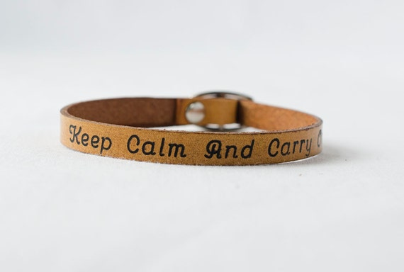 Keep Calm and Carry On Skinny Adjustable Leather Bracelet