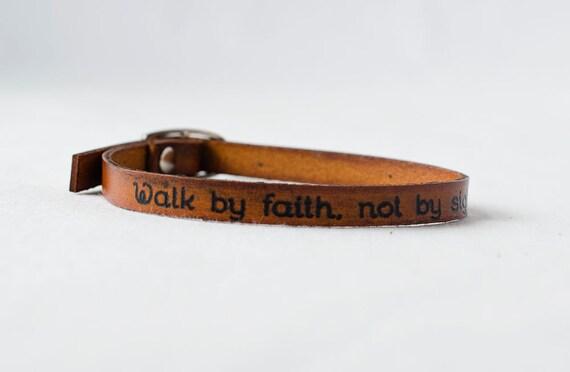 Walk by Faith, Not by Sight -  Skinny Leather Wrap Bracelet