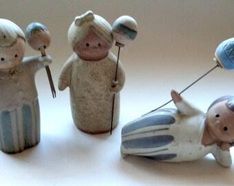 Set of Three Jie Gantofta Sweden Style ceramic Figurines - MCM