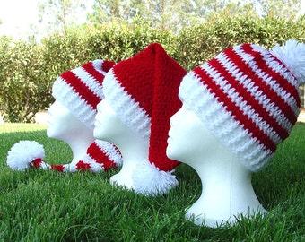 Crochet Long Stocking Cap Elf Hat, Santa Hat & Easy Beanie Patterns  4 patterns