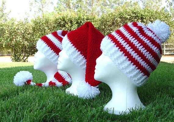 Crochet Pattern Stocking Hat : Crochet Long Stocking Cap Elf Hat Santa Hat & Easy Beanie