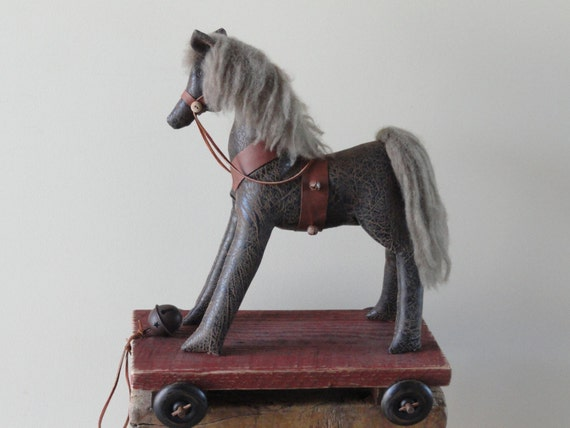 HORSE Pull Toy - Primitive Pony - Vintage Style Nursery Decor - Folk Art Toy Reproduction - Brown Pony - Reclaimed Wood - Home Decor - SUNNY
