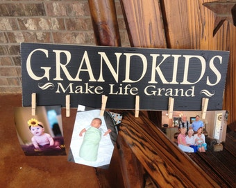Grandkids Make Life Grand ~ Mother's Day Gift For Grandma ~Gift For Grandparent ~READY TO SHIP ~Personalized Grandparent Gift ~Gift For Mimi