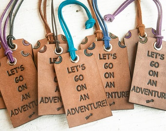 Leather Luggage Tag - Travel Themed Bag Tag - Lets Go On An Adventure - Quick Gift